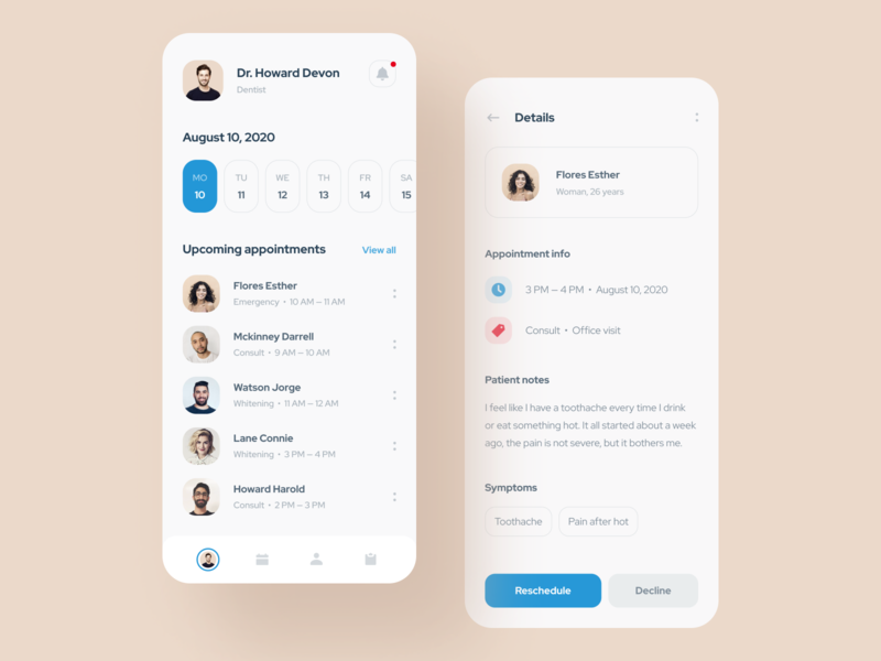 Mobile app for the dentist services product design details page avatars actions upcoming users tab menu profile calendar patient doctor mobile scheduling appointment medicine dentist app design mentalstack