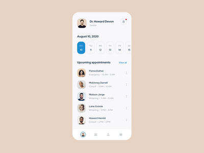Mobile app for the dentist health app healthcare medical app medicine ios tags notes calendar patients details page schedule motion animation interaction user account dentist doctor appointment mobile app mentalstack