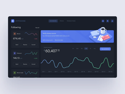 Cryptocurrency exchange platform dark theme analytics chart product design userinterface bitcoin dashboard coin 3d ilustration isometric art vector illustration shapes motion animation banners blockchain crypto exchange crypto currency crypto wallet mentalstack