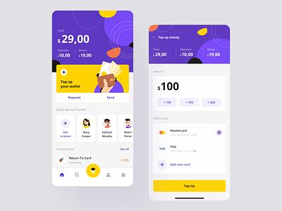 Fintech Mobile App figma bank finance financial total amount money transfer transactions credit card balance top up banking app fintech app product design design mentalstack