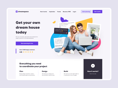 Homepage concept photo mockup shapes illustration collage colors people home first screen hero section mainscreen branding website mentalstack ui