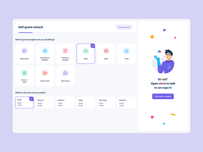 Getting quote wizard user interface system uiux userflow questions chatbot dashboard progress bar illustration wizard app product design mentalstack