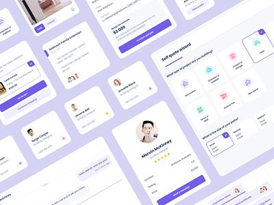 Home design platform UI elements communication design system timeline team profile cards card interface ui kit user interface uiux app product design website mentalstack