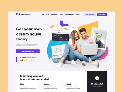 Homepage website concept purple sections clients customers people landing page layout photo collage design concept main screen homepage product design website mentalstack