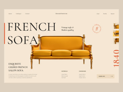 Product page for Furniture shop