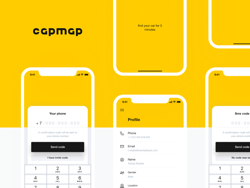 Taxi app screens mobile ios clear design yellow sign in ui taxi app car mentalstack