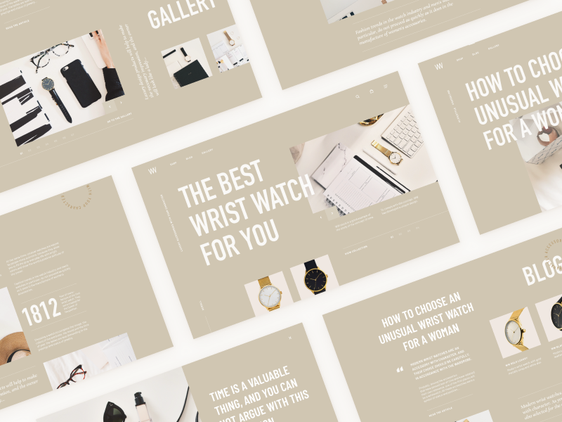 All pages for Wrist Watch shop beige minimalism website luxury home clean minimal concept mentalstack
