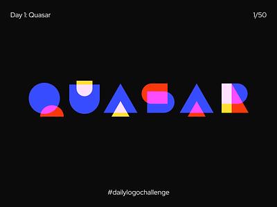 Logo Quasar geometric world type circle quartz shapes quasar black letter typography mark identity icon branding cosmos logo dailylogochallenge