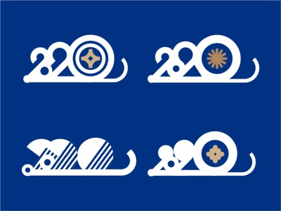 2020 year of the rat icon logo shape animal blue white gold pattern geometric minimal new years typography mice mouse rat year of the mouse year of the rat cny new year 2020