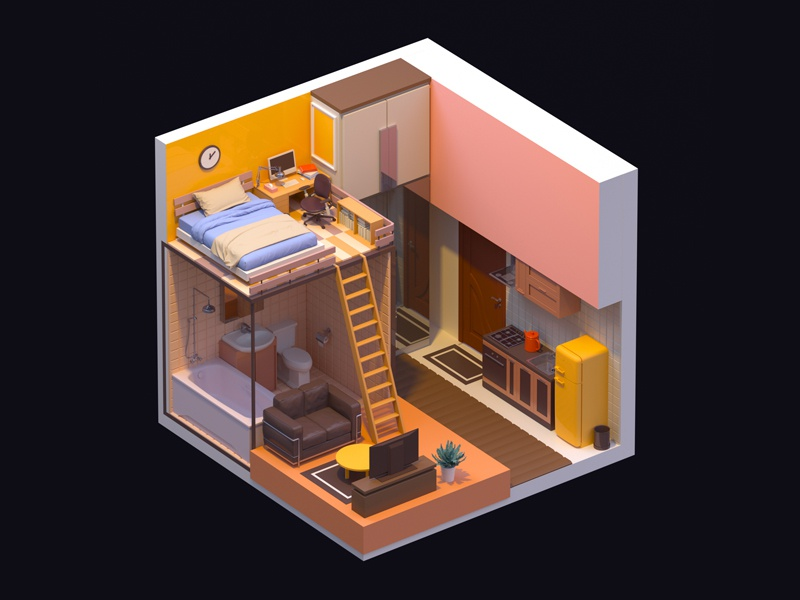 Single apartment c4d