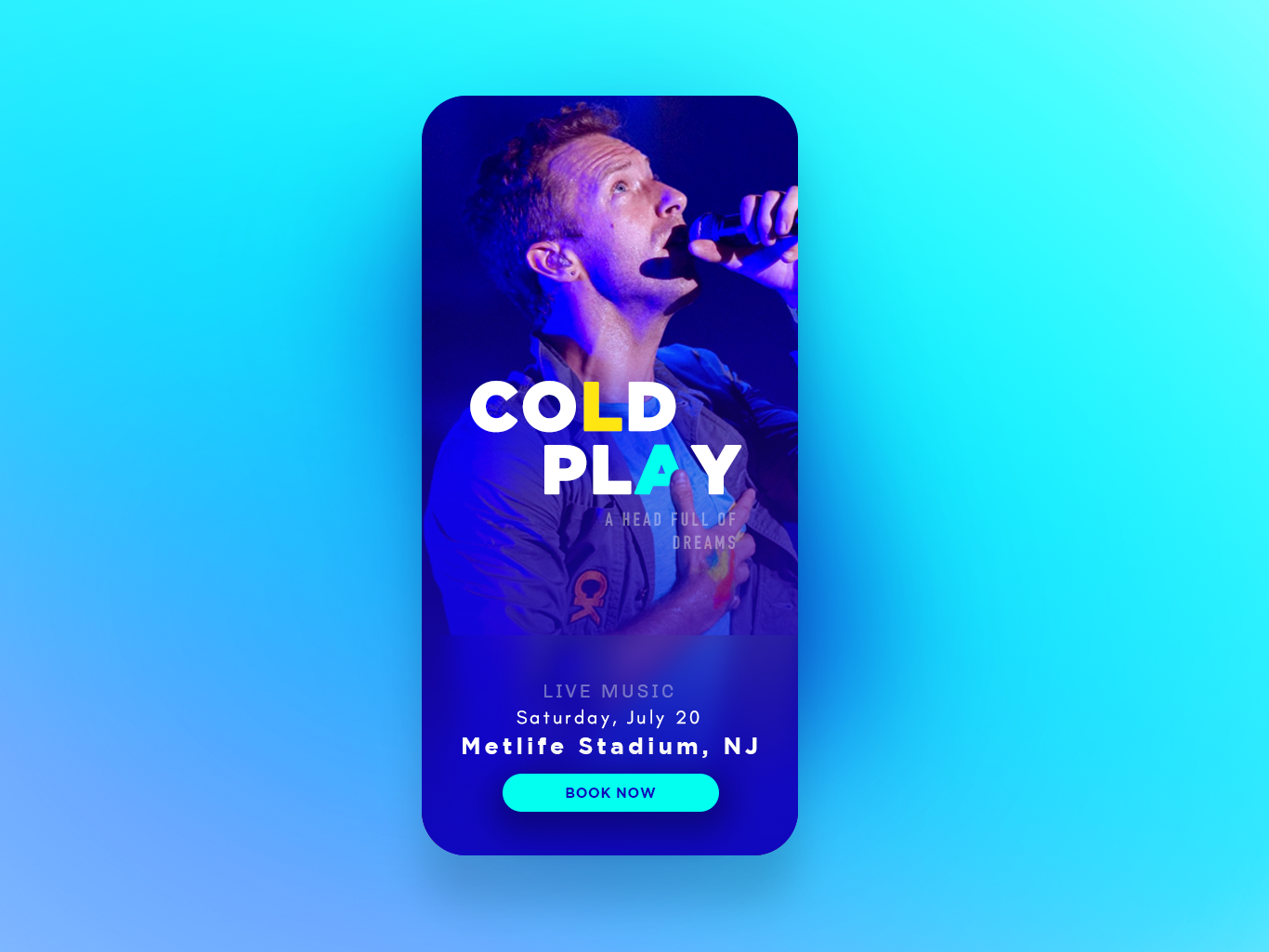 Upcoming Event app character blue photography ux ui  ux design ui typography colors design