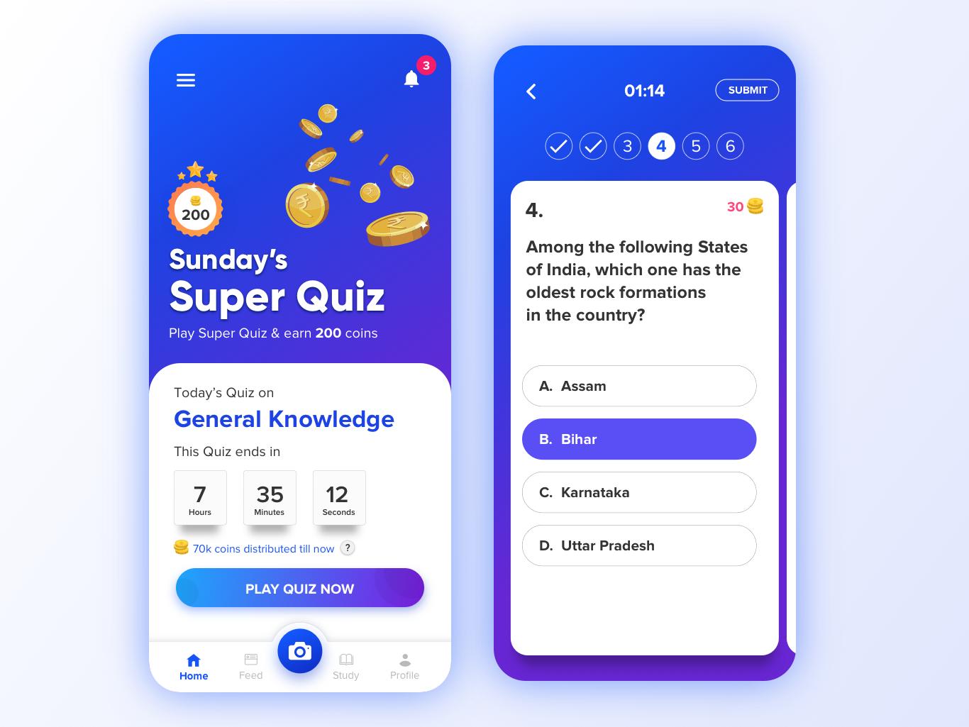 Quiz - Super Quiz icon blue vector app web ux ui  ux design ui typography colors design