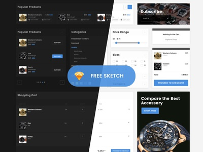 Free eCommerce UI Kit blue black white light dark ux sketch free ecommerce magento ui kit