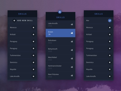 UI Skills Box skills widget ux ui cueblocks blue