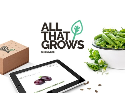 AllThatGrows - Case Study - Live Now! case study live green seeds typography font raleway leaf ux ui branding
