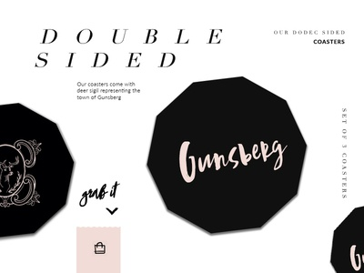 Gunsberg Coasters black typography design illustration font ecommerce branding