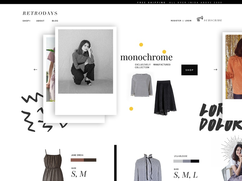 Retrodays clothing agency creative design ecommerce ui