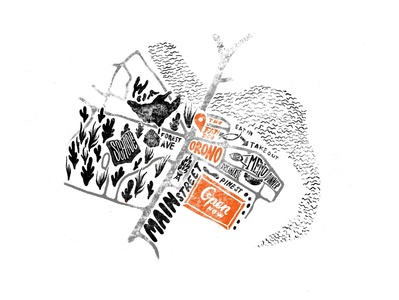 Neighbourhood Map black  white type diner america family illustration illustrator design branding restaurant map