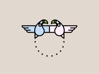 Birds magic logo tropical illustration birds