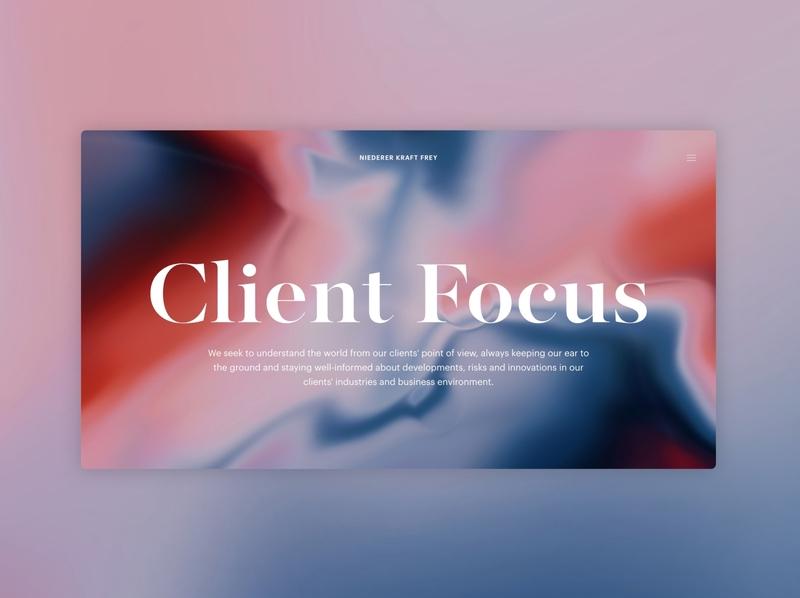Niederer Kraft Frey user experience typogaphy gradient color lawfirm digital elegance minimal