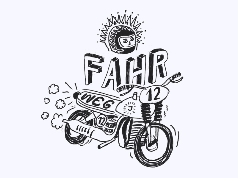 Wake & Sketch 03 morning coffee lettering letter quick raw sketch symbol race bike motor