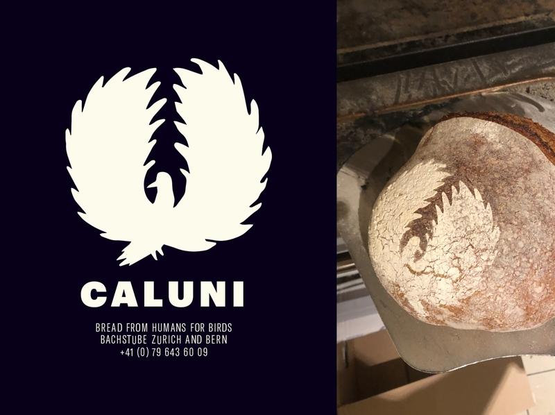 CALUNI BREAD backery bread food app foodie typography bird logo design logo