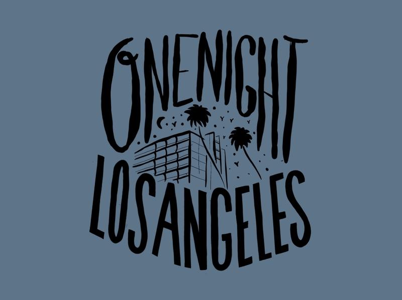 ONE NIGHT script font letter illustration city america los angeles dark nightclub procreate sketchapp sketch