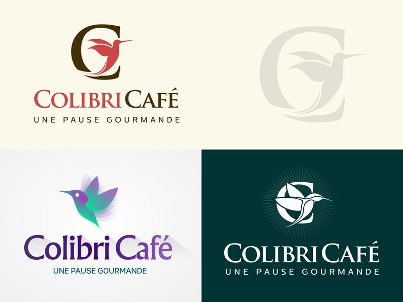 Colibri Cafe Logo typografy birds creative concept lettere c colibri humming hummingbird