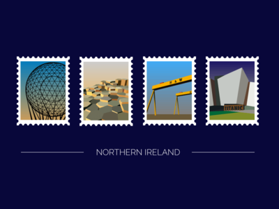 NI Stamps belfast harland and wolff titanic giants causeway northern ireland ni stamps vector illustration