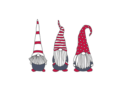 Little Gnomes christmas grey red gnomes design vector illustration