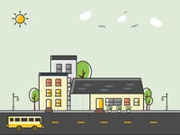 Sun, House, Tree, Road, Vehicle Illustration