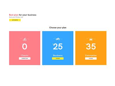 Pricing Plan UI design sample ui plan pricing