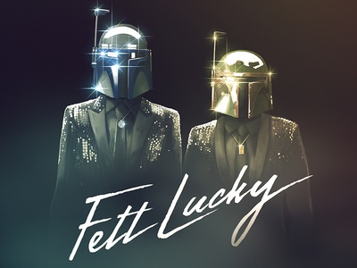 """Fett Lucky"" star wars daft punk threadless parody illustration photoshop boba fett jango fett get lucky"