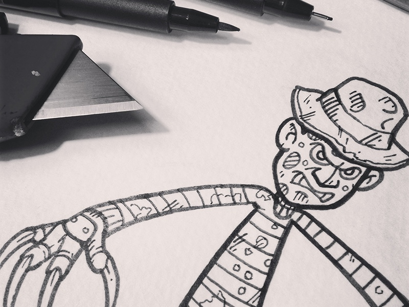 Inktober14-Day02-FreddyKreuger inktober halloween freddy nightmareonelmstreet illustration character