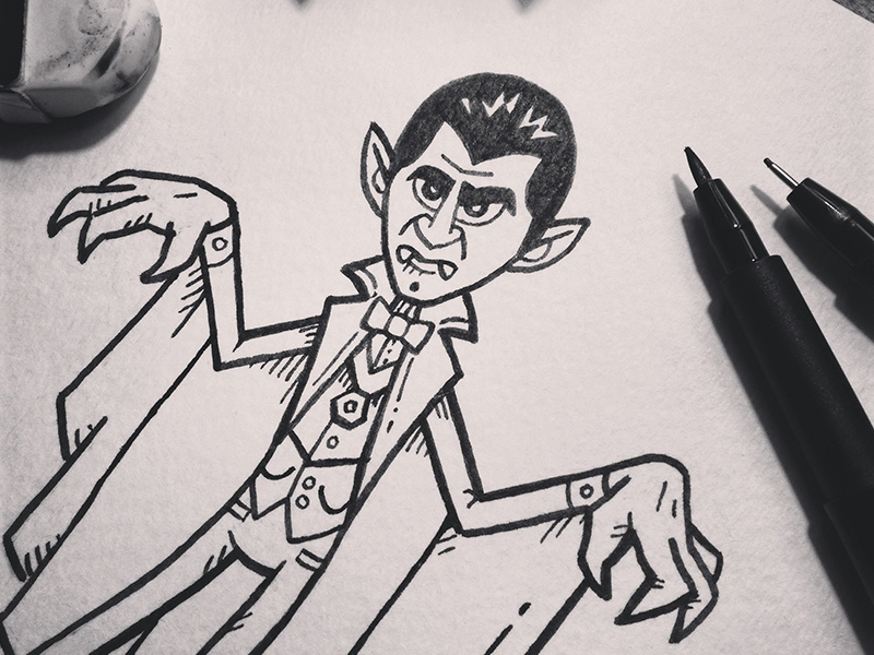 Inktober14-Day05-Dracula dracula inktober halloween ink drawing illustration character