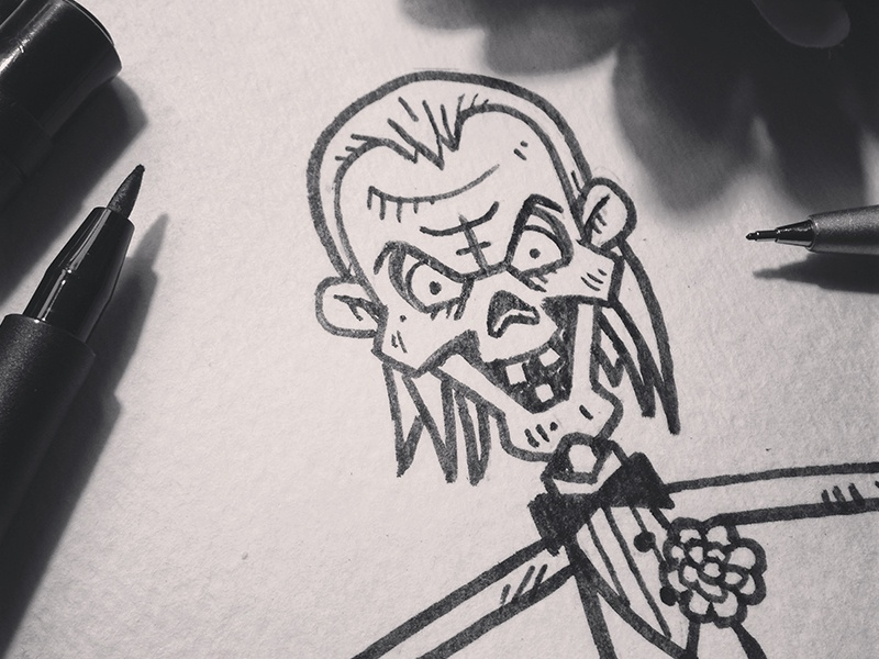 Inktober14-Day08-CryptKeeper cryptkeeper crypt hbo inktober halloween ink drawing illustration character