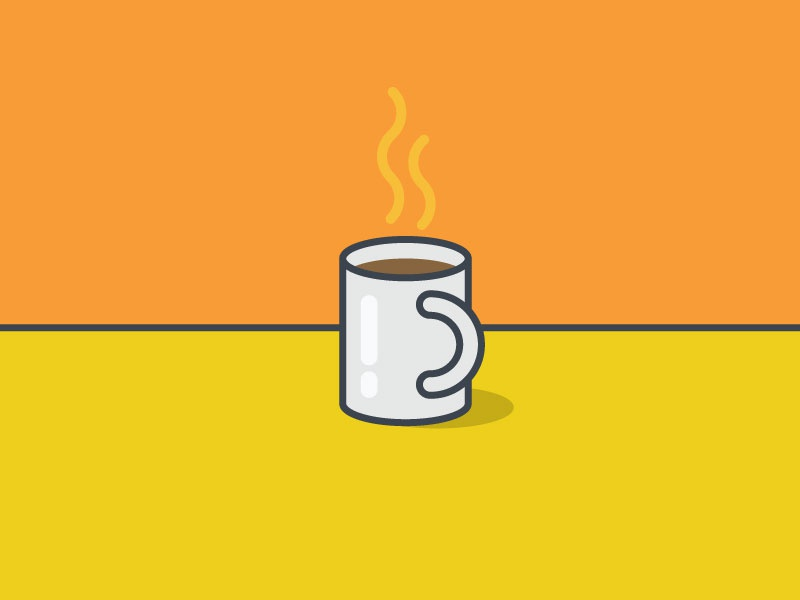 Munday Coffee Break mug coffee pop outline icon vector illustration