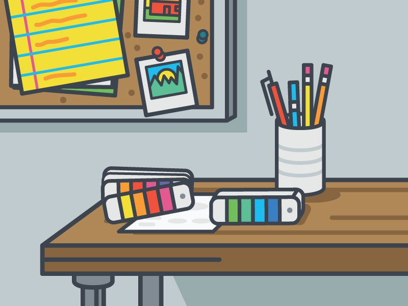 Office Space and Pantone Books design graphic design desktop tools artist color pantone pop outline icon vector illustration