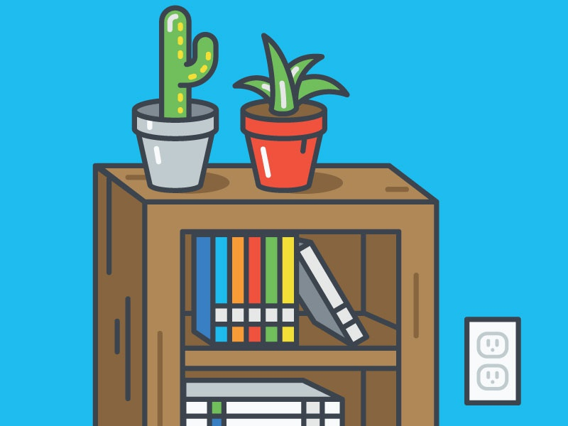 Books and Cacti illustration vector icon outline pop cactus bookshelf graphic design design