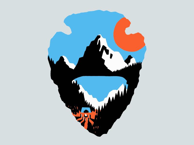 Wester Odyssey - Glacier National Park arrowhead sketch nature lake glacier glacier national park mountain illustration