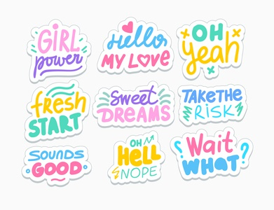 Cute stickers slang messages hand drawn lettering stickers simple sticker vector cartoon