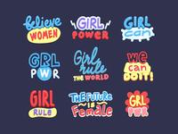 Gender equality letterings set.