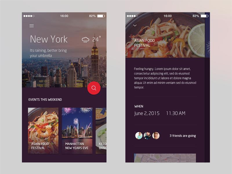 City App Concept ui mobile material purple concept app city