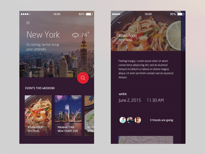 City App Concept ui mobile material purple concept app city
