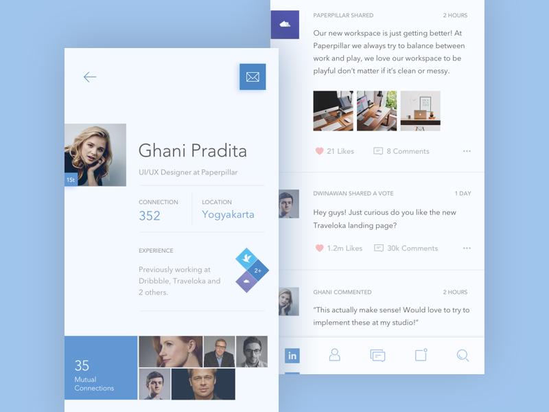 LinkedIn Redesign Concept line icons light redesign color minimal flat icon app mobile linkedin concept
