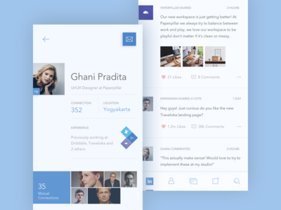 LinkedIn Redesign Concept line icons light redesign color minimal flat icon app mobile linkedin concept
