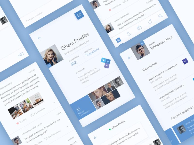 LinkedIn Redesign Screens concept linkedin mobile app icon flat minimal color redesign light line icons