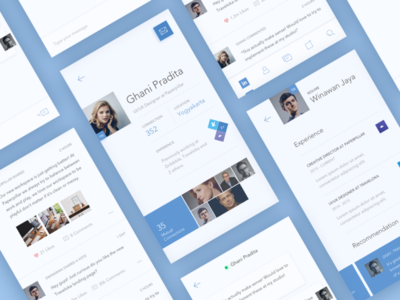 LinkedIn Redesign Screens concept linkedin mobile app icon flat minimal color redesign light line icons