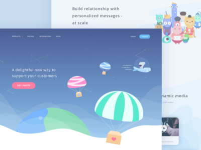Customer Service Startup Landing Page website robot planet octopus moon monster illustration galaxy cute crm communication alien
