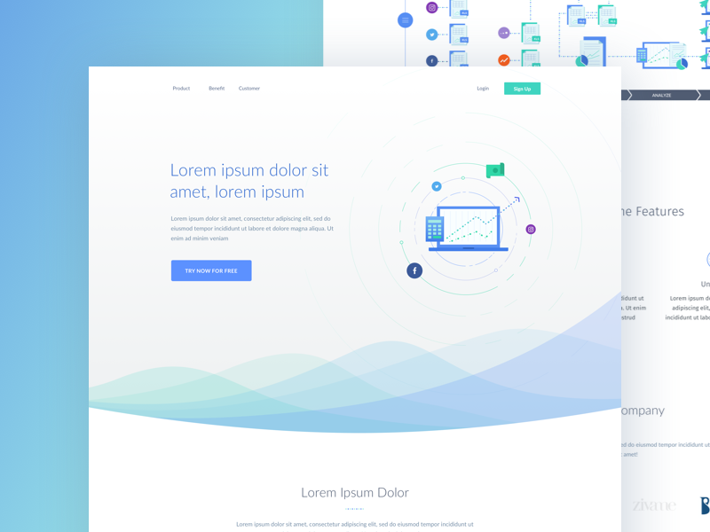 Wave wave progress minimal page landing illustration green transparent modern clean chart blue